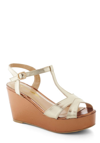 Metallic Like It Is Wedge - High, Gold, Platform, Wedge, Beach/Resort, Summer, Spring