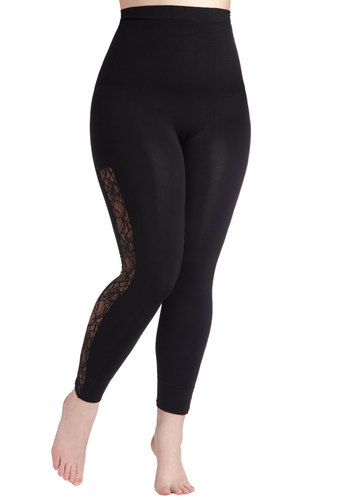 Side With You Contouring Leggings in Plus Size - Black, Solid, Lace, Casual, Girls Night Out, Skinny, Jersey, Cotton, Travel