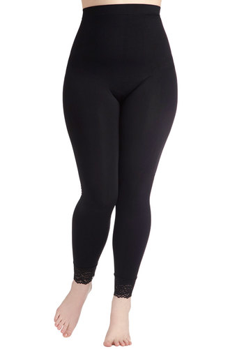 A Kick of Lace Contouring Leggings in Plus Size - Sheer, Black, Lace, Skinny, Casual, Girls Night Out, Travel, Lace, Maternity