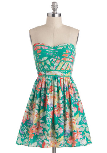Lush with Beauty Dress in Garden - Green, Multi, Floral, Daytime Party, A-line, Strapless, Spaghetti Straps, Sweetheart, Mid-length, Summer, Graduation, Fit & Flare, Press Placement
