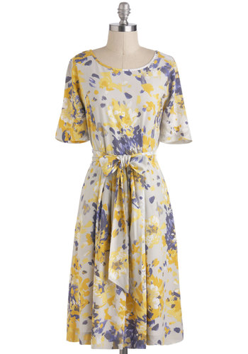 Flurry of Florals Dress - Grey, Yellow, Purple, Floral, Belted, Daytime Party, A-line, Short Sleeves, Spring, Long