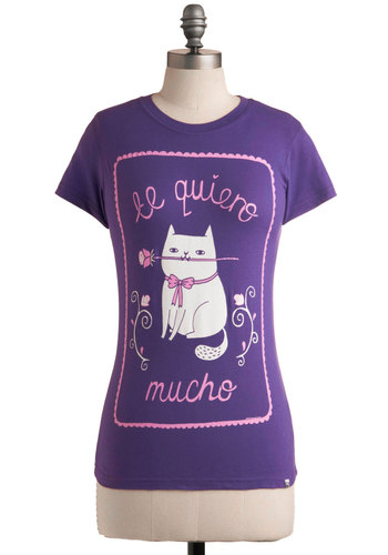 This Meow's Forever Tee - Purple, Pink, White, Print with Animals, Novelty Print, Casual, Short Sleeves, Summer, Mid-length, Crew, Travel, Cats