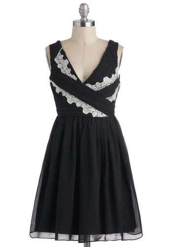 Frock Opera Dress - Black, White, Lace, Film Noir, A-line, Sleeveless, Chiffon, Mid-length, V Neck, Prom, Party