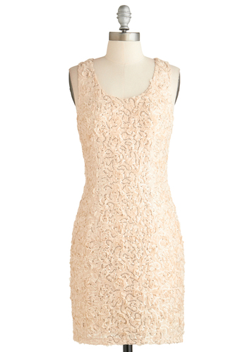 White Wine Night Dress - Short, Cream, Solid, Sequins, Party, Sheath / Shift, Sleeveless, Exclusives, Graduation, Special Occasion, Summer