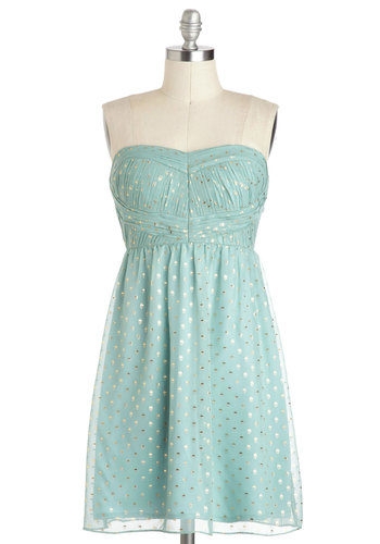 Ice to See You Dress - Short, Blue, Silver, Polka Dots, Party, Pastel, Strapless, Prom