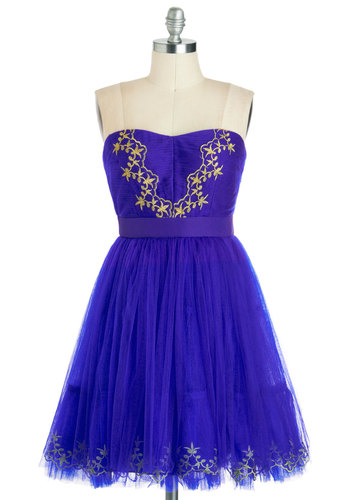 Lady in Wading Dress - Gold, Embroidery, Party, Ballerina / Tutu, Strapless, Spring, Mid-length, Solid, Sweetheart, Purple, Prom