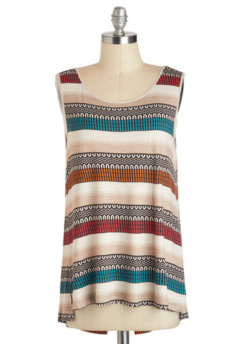 Desert Daydreaming Top by Jack by BB Dakota - Tan, Red, Orange, Green, Black, Casual, Tank top (2 thick straps), Folk Art, Long, Travel