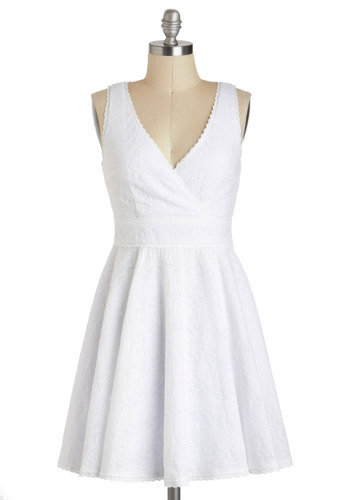 Eyelet Spy Dress - White, Solid, Eyelet, Casual, Vintage Inspired, Minimal, A-line, Sleeveless, Spring, Short, Cotton, Cutout, V Neck, Graduation, Summer