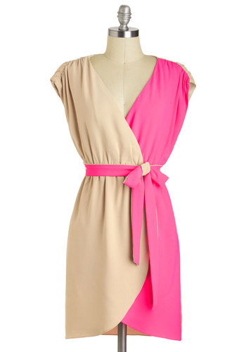 Style on the Wild Side Dress - Tan, Pink, Sleeveless, V Neck, Mid-length, Belted, Colorblocking, A-line, Party, Daytime Party