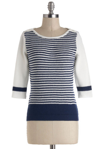 Need I Sail More Sweater - Short, Cotton, Multi, Blue, White, Stripes, Nautical, 3/4 Sleeve, Travel