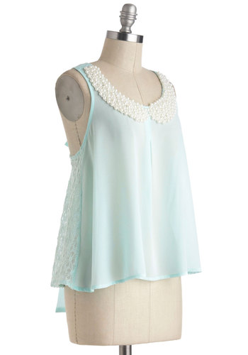 Bit of Baubly Top - Sheer, Mid-length, Mint, Solid, Bows, Pearls, Party, Cocktail, Sleeveless, Scoop, Summer