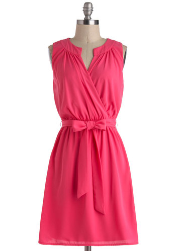 Network and Play Dress - Mid-length, Pink, Solid, Belted, Ruching, Casual, A-line, Wrap, Sleeveless, V Neck, Work