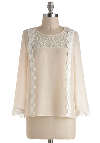 Breakfast Meets Dinner Top - Chiffon, Sheer, Mid-length, Tan, Solid, Lace, Work, Long Sleeve, Party, French / Victorian