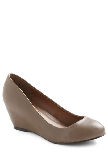 More or Effortless Wedge - Mid, Faux Leather, Grey, Solid, Wedge