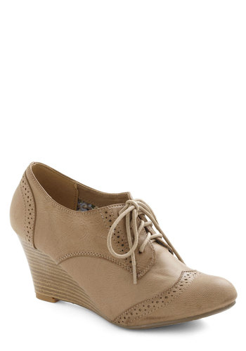 On the Wingtip Wedge in Tan - Mid, Tan, Solid, Menswear Inspired, Wedge, Lace Up, Variation