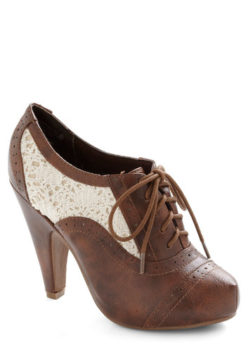 Whirlwind Traveler Bootie - High, Faux Leather, White, Cutout, Lace, Vintage Inspired, 20s, 30s, Tan