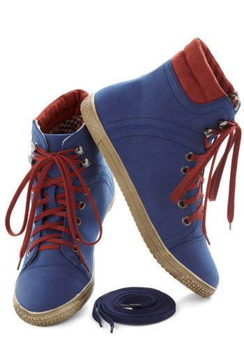 Busk in the Glory Sneaker - Blue, Red, Solid, Lace Up, Flat, Urban, Vintage Inspired, 80s, 90s, Travel