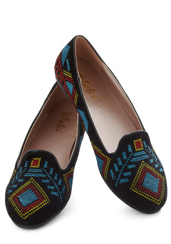 Stitch a Ride Flat - Black, Multi, Print, Embroidery, Menswear Inspired, Flat, Casual, Boho, Folk Art