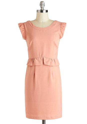 Peach Your Goals Dress - Pink, Solid, Ruffles, Work, Shift, Mid-length, Cap Sleeves