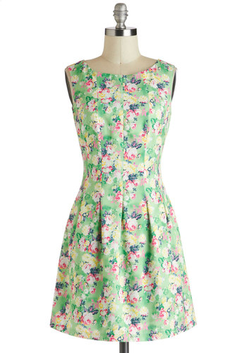 Springing Forward Dress - Green, Multi, Floral, A-line, Sleeveless, Spring, Short, Pleats, Boat, Exposed zipper, Daytime Party, Graduation, Summer
