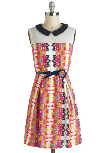 Snow-Capped Mountain Backdrop Dress - Peter Pan Collar, Belted, Casual, Folk Art, A-line, Sleeveless, Spring, Multi, Print, Mid-length, Pleats, Collared