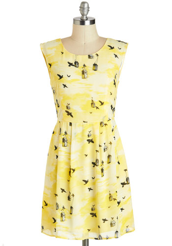 Get Carried Away Dress - Short, Yellow, Black, White, Print with Animals, Pleats, Casual, A-line, Sleeveless, Summer