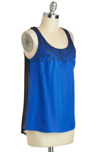 Your Turn at Acrobat Top - Mid-length, Blue, Black, Solid, Embroidery, Party, Cocktail, Girls Night Out, Sleeveless, High-Low Hem, Scoop, Summer