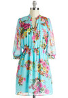 Day to Sprightly Dress - Blue, Multi, Floral, Pleats, Casual, A-line, 3/4 Sleeve, V Neck, Mid-length, Buttons, Work