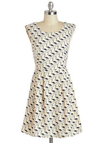 On The Wading List Dress - Cream, Blue, Print with Animals, Pleats, Casual, A-line, Sleeveless
