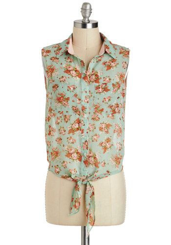 Yes-Girl Top - Sheer, Short, Mint, Pink, Floral, Buttons, Pockets, Vintage Inspired, Sleeveless, Pastel, Summer, Travel