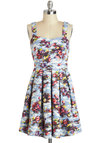 Lakeside Portrait Dress - Mid-length, Blue, Multi, Floral, Cutout, Pleats, Daytime Party, A-line, Tank top (2 thick straps), Sweetheart, Spring, Graduation
