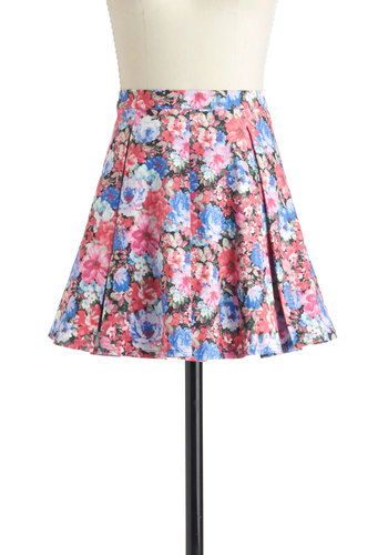 Glam Gardener Skirt - Short, Multi, Blue, Pink, Floral, Pleats, Party, Daytime Party, A-line
