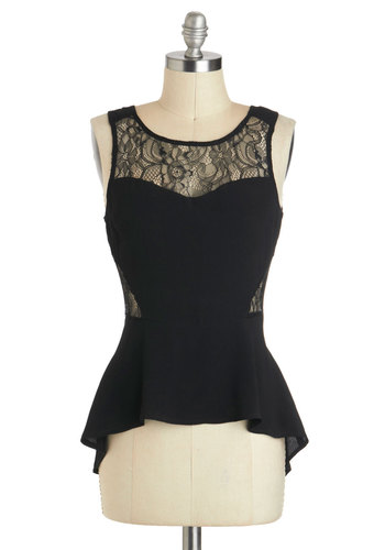 Shadow Chic Top - Mid-length, Black, Solid, Lace, Party, Cocktail, Girls Night Out, Sleeveless, High-Low Hem, Black, Sleeveless, Lace