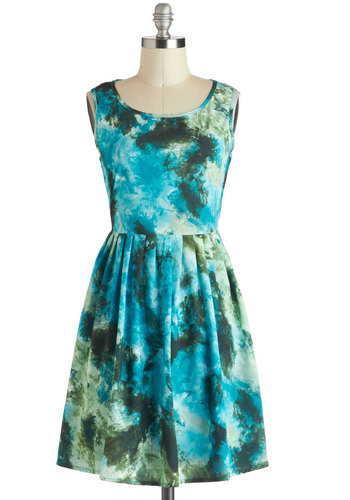 Imprinted with Joy Dress - Mid-length, Blue, Green, Print, Pleats, Casual, A-line, Sleeveless, Tie Dye, Boho, 90s