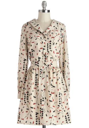 Pawsitive Attraction Dress - Mid-length, Cream, Red, Black, Print with Animals, Buttons, Casual, A-line, Long Sleeve