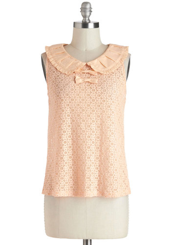 I'm in Louvre Top in Pastel - Orange, Bows, Lace, Peter Pan Collar, Work, Sleeveless, Sheer, Mid-length, Fairytale, Pastel, Daytime Party, Variation