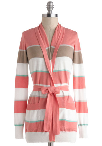 New in Naples Cardigan - Pink, Green, Brown, Grey, White, Stripes, Casual, Long Sleeve, Cotton, Pastel, Travel