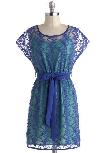 Tidal Jewel Dress - Blue, Solid, Lace, Casual, A-line, Mid-length, Belted, Short Sleeves, Daytime Party, Spring, Sheer