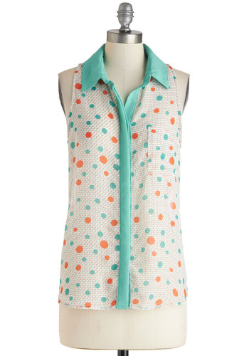 Playground of Style Top - Multi, Orange, White, Mint, Polka Dots, Buttons, Pockets, Sleeveless, Collared, Sheer, Mid-length, Casual, Vintage Inspired, 60s