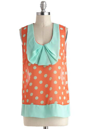 State Fair Play Top - Orange, Blue, Polka Dots, Pleats, Sleeveless, Mid-length, Pastel, Sheer, Scoop