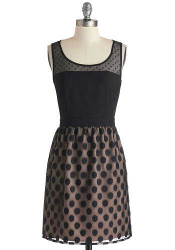 Shadow of a Dot Dress - Black, Tan / Cream, Polka Dots, Party, A-line, Mid-length, Tank top (2 thick straps), Sheer, Scoop