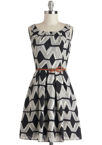 Graphic Gourmet Dress - Mid-length, Black, White, Print, Pleats, Belted, Sleeveless, Boat, Fit & Flare, Pockets, Work