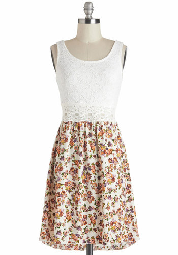 Bohemian Bouquet Dress - Sheer, Mid-length, White, Multi, Floral, Eyelet, Lace, Casual, A-line, Twofer, Graduation, Fairytale, Tank top (2 thick straps)
