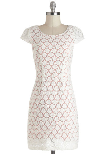 Posh Pizzeria Dress - Vintage Inspired, 60s, Cotton, Sheer, White, Pink, Polka Dots, Sheath / Shift, Short Sleeves, Crochet, Daytime Party, Graduation