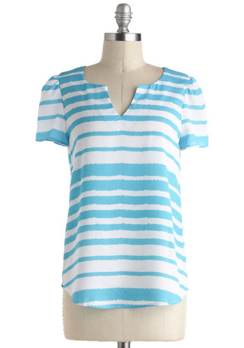Go Your Own Wave Top - Sheer, Mid-length, Multi, Blue, White, Stripes, Casual, Short Sleeves, Exposed zipper, Summer