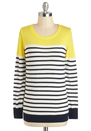 Rocking on Sunshine Sweater - Mid-length, Multi, Yellow, Black, White, Stripes, Casual, Long Sleeve, Nautical, Travel