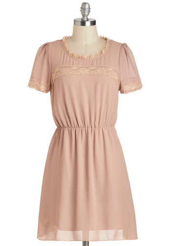 Chai Town Charmer Dress - Short, Tan, Tan / Cream, Solid, Lace, Ruffles, Trim, Casual, A-line, Short Sleeves, Sheer, Vintage Inspired, 30s
