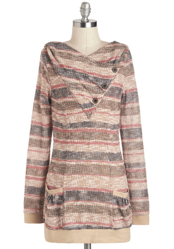 City Coasting Sweater - Tan, Red, Purple, Tan / Cream, Stripes, Buttons, Pockets, Casual, Long, Travel