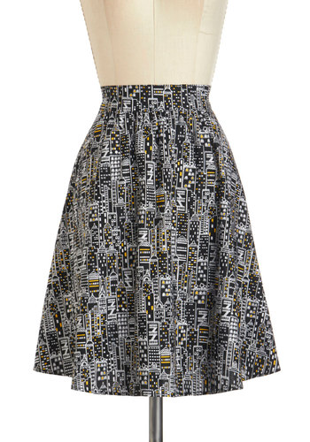 Back to Your Routes Skirt in City - Multi, Black, White, Urban, Mini, Cotton, Mid-length, Novelty Print, Pockets