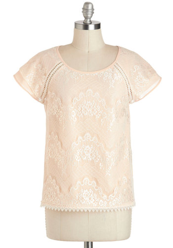 The Grace of Lace Top - Sheer, Mid-length, Cream, Solid, Lace, Work, Short Sleeves